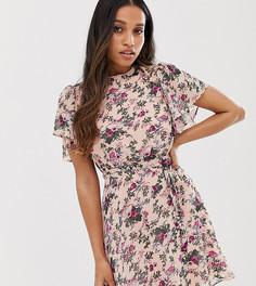 Платье мини с цветочным принтом и рукавами-кимоно Vila Petite-Мульти