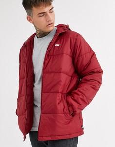 Бордовая дутая куртка с маленьким логотипом Vans-Красный