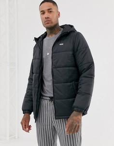 Черная дутая куртка с логотипом Vans-Черный