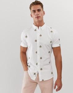 Серо-бежевая рубашка с короткими рукавами и вышивкой River Island-Кремовый
