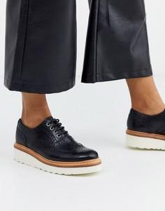 Черные кожаные броги на платформе и с отделкой Grenson Emily-Черный