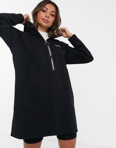 Oversize-худи черного цвета с молнией и логотипом Converse-Черный