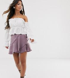 Атласная мини-юбка с запахом ASOS DESIGN Petite-Фиолетовый