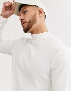 Светло-бежевая футболка в рубчик с длинными рукавами и высоким воротом River Island-Светло-бежевый