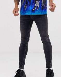Черные выбеленные джинсы с напылением Topman-Синий
