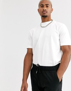 Белая футболка с высоким воротником Topman-Белый