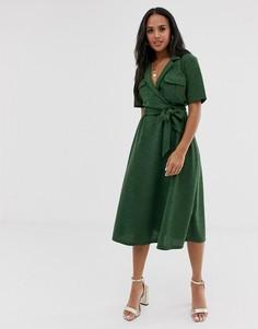 Меланжевое платье-рубашка миди с поясом ASOS DESIGN-Мульти