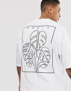Oversize-футболка из плотного трикотажа с вышитой пальмой на спине ASOS DESIGN-Белый
