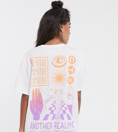 Свободное платье-футболка с принтом на спине Crooked Tongues-Фиолетовый