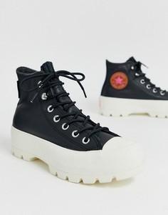 Кожаные высокие кроссовки черного цвета на массивной подошве Converse Goretex-Черный