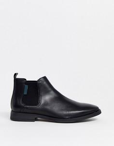 Черные кожаные ботинки челси River Island-Черный