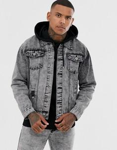 Джинсовая куртка с эффектом кислотной стирки Liquor N Poker-Черный