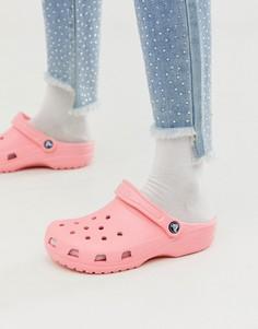 Розовые классические шлепанцы Crocs-Розовый