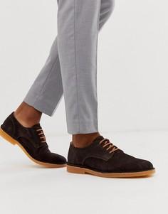 Коричневые замшевые туфли Selected Homme-Коричневый