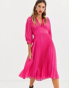 """Плиссированное платье миди с узором шеврон и рукавами \летучая мышь\"""" ASOS DESIGN-Розовый"""