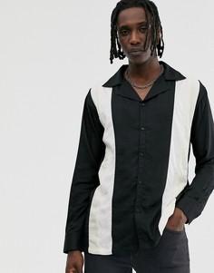 Черная рубашка для боулинга с длинными рукавами Sacred Hawk-Темно-синий