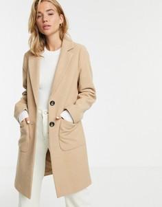Бежевое пальто на пуговицах New Look-Бежевый
