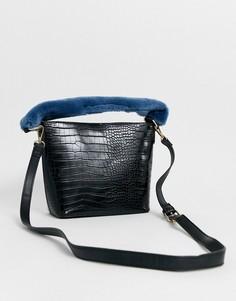Сумка-мешок с меховой ручкой ASOS DESIGN-Черный