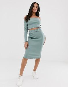 Сине-зеленая юбка с поясом Missguided-Синий