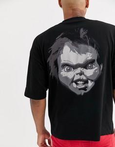 Oversize-футболка для Хэллоуина с принтом на груди и спине ASOS DESIGN-Черный