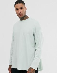 Бледно-зеленая oversize-футболка с длинными рукавами и разрезами по бокам ASOS DESIGN-Синий