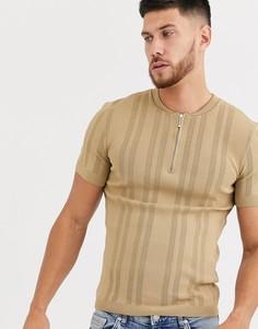 Светло-бежевая трикотажная футболка River Island-Черный