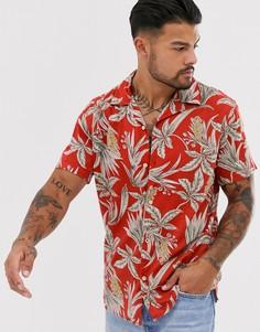 Коралловая рубашка с короткими рукавами и пальмовым принтом Jack & Jones Premium-Красный
