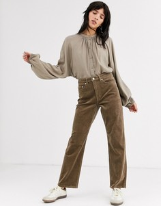Серо-коричневые вельветовые брюки Weekday Row-Серый