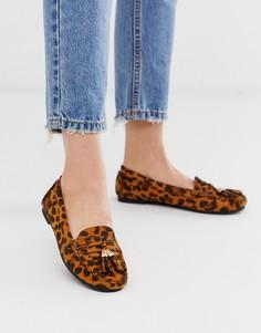 Лоферы на плоской подошве с леопардовым принтом и кисточками Truffle Collection-Мульти