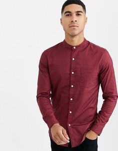 Оксфордская бордовая рубашка с длинными рукавами и воротником с застежкой на пуговицу Topman-Красный