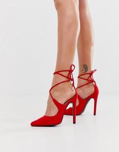 Красные туфли-лодочки с завязкой на щиколотке Public Desire True-Красный