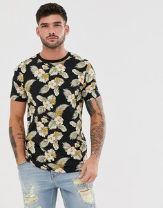 Черная футболка с цветочным принтом Jack & Jones Premium-Черный