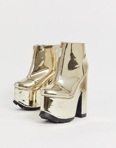 Золотистые ботинки на каблуке и платформе Y-R-U-Золотой YRU