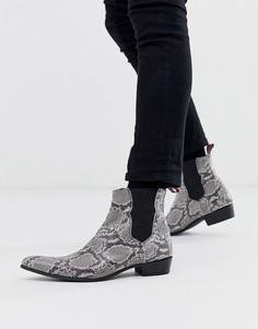 Кожаные ботинки челси со змеиным тиснением Jeffery West Adamant-Серый