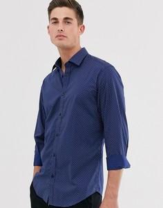 Узкая эластичная рубашка с принтом треугольников Esprit-Темно-синий