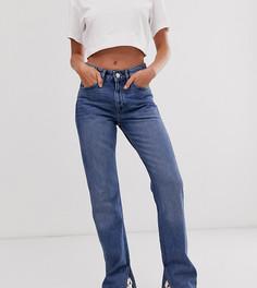 Синие прямые джинсы с разрезом по бокам Monki Kim-Синий