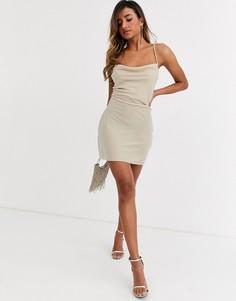 Бархатное платье-комбинация мини со шнуровкой на спине ASOS DESIGN-Розовый