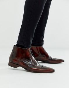 Коричневые кожаные ботинки с крокодиловым узором Jeffery West Escobar-Коричневый
