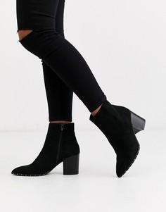 Черные ботинки на каблуке с рантом и заклепками New Look-Черный