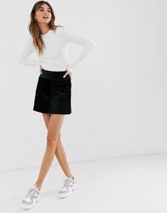 Черная вельветовая мини-юбка А-силуэта Monki-Черный