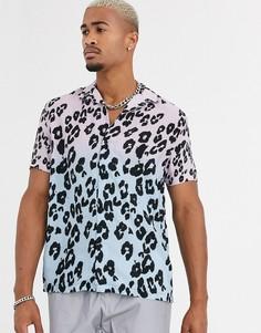 Голубая рубашка с короткими рукавами и леопардовым принтом Topman-Синий