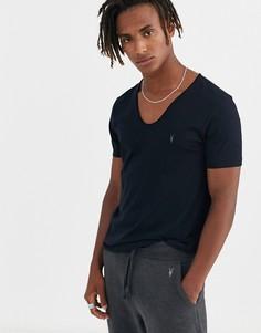 Темно-синяя футболка с принтом бараньего черепа AllSaints Tonic-Темно-синий