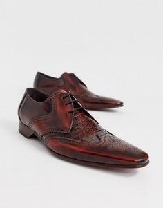 Коричневые кожаные туфли с крокодиловым рисунком Jeffery West - Escobar-Коричневый