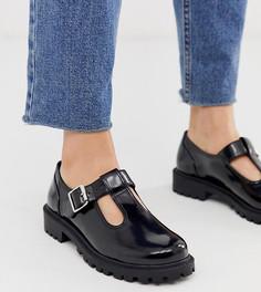 Черные туфли из искусственной кожи с пряжками Monki-Черный