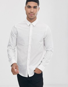 Рубашка с длинными рукавами и логотипом на груди Calvin Klein Jeans-Белый