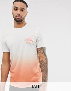 Белая футболка с принтом с эффектом омбре Jacamo-Белый