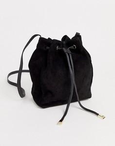 Замшевая сумка-мешок ASOS DESIGN-Черный