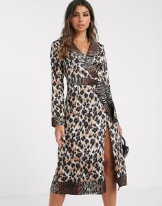 Платье миди с запахом, поясом и звериным принтом Missguided-Мульти