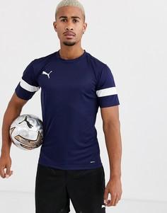 Темно-синяя футболка с короткими рукавами и белыми вставками Puma - Football эксклюзивно для ASOS-Темно-синий