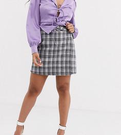Строгая юбка-трапеция мини от комплекта в клетку Fashion Union Petite-Серый